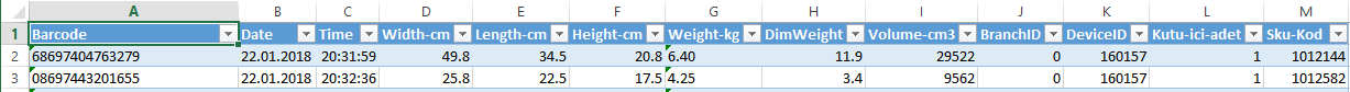 Weight and Dimension Data in Excel